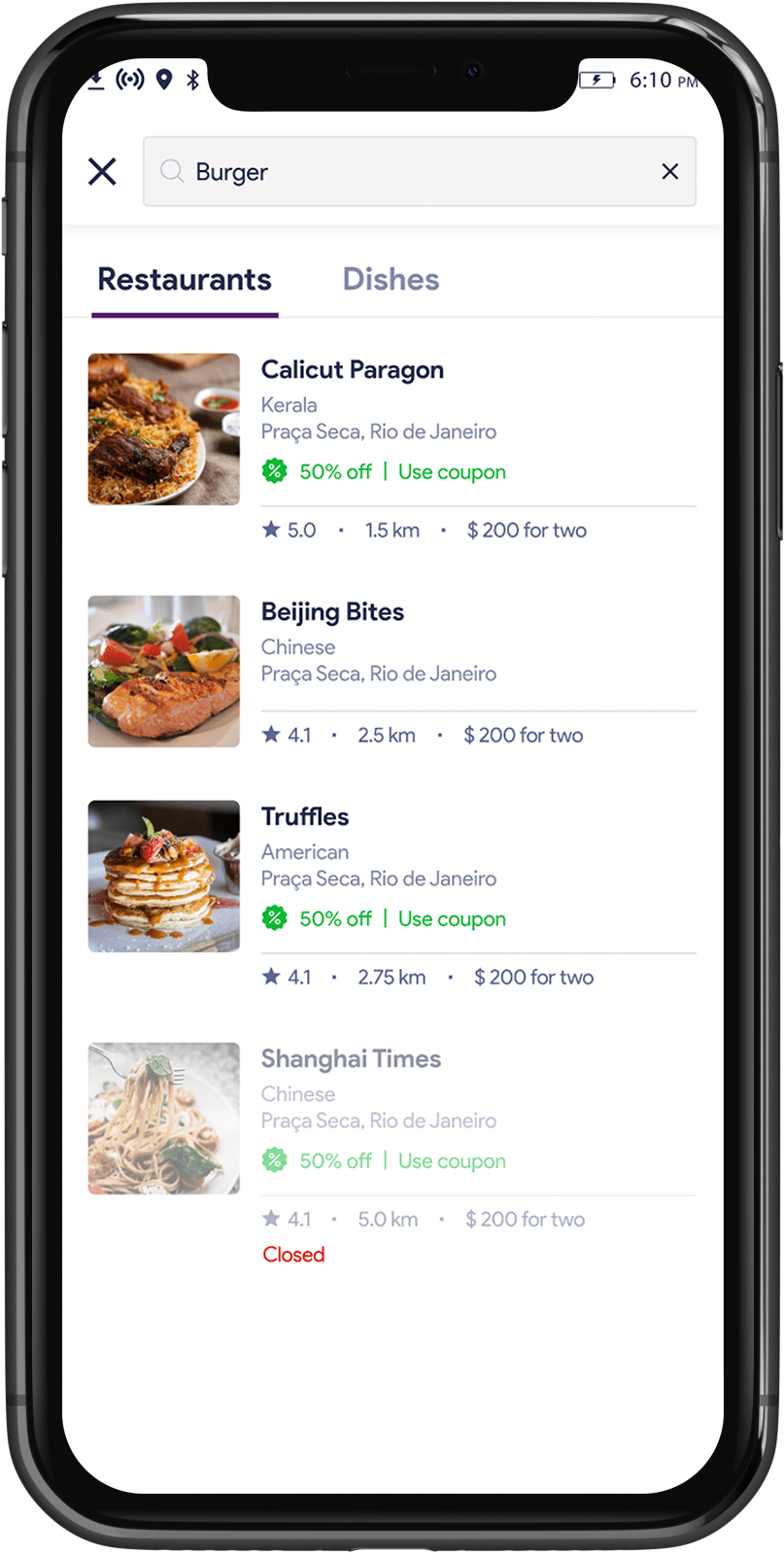 Food delivery customer app