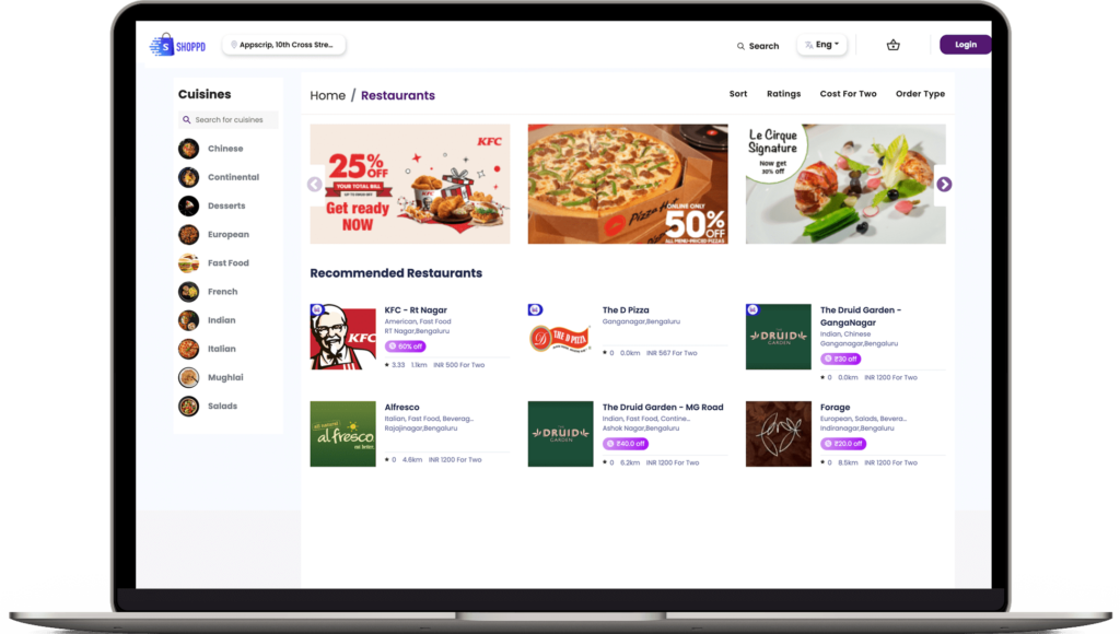 Food delivery software customer website Home page