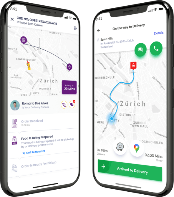 customer and driver app for Food delivery software