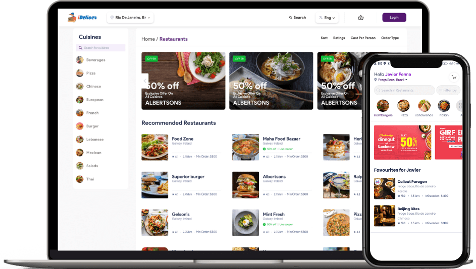 customer app and website for Food delivery software