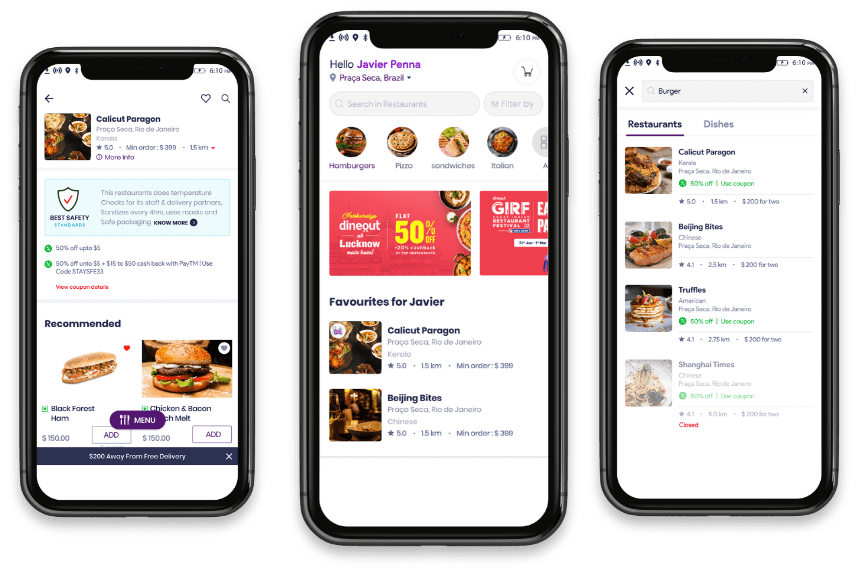 customer app for Food delivery software