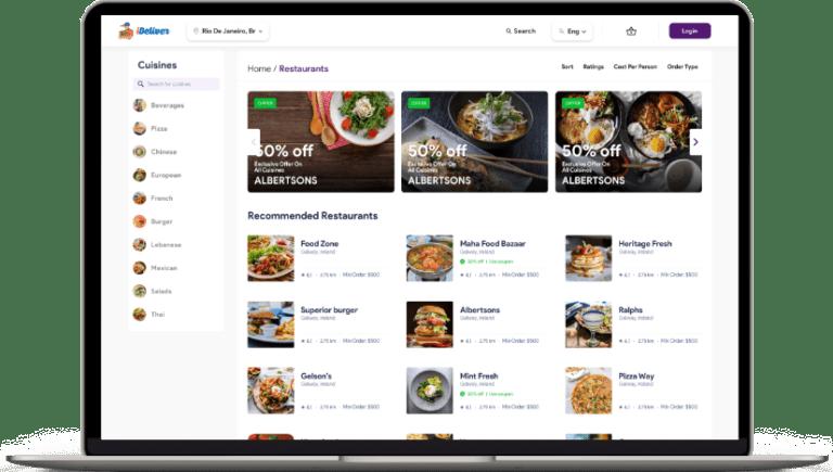 customer website for Food delivery software