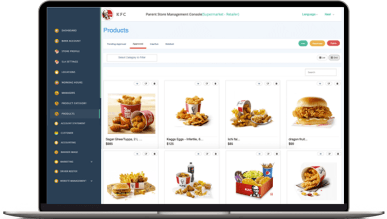 store admin for food delivery software
