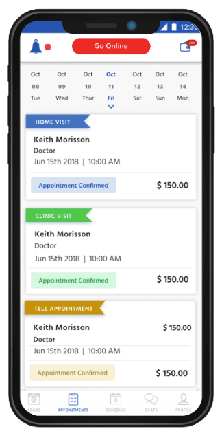 Doctor appointment app doc schedule list