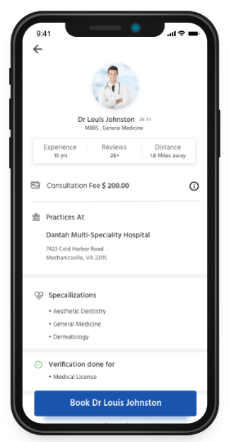 Hospital appointment app doctor detail