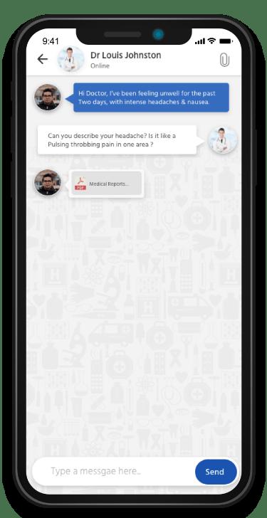 Healthcare software development telemedicine chat with attachment