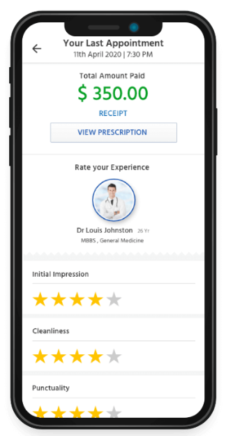 Patient flow ratings and review screen