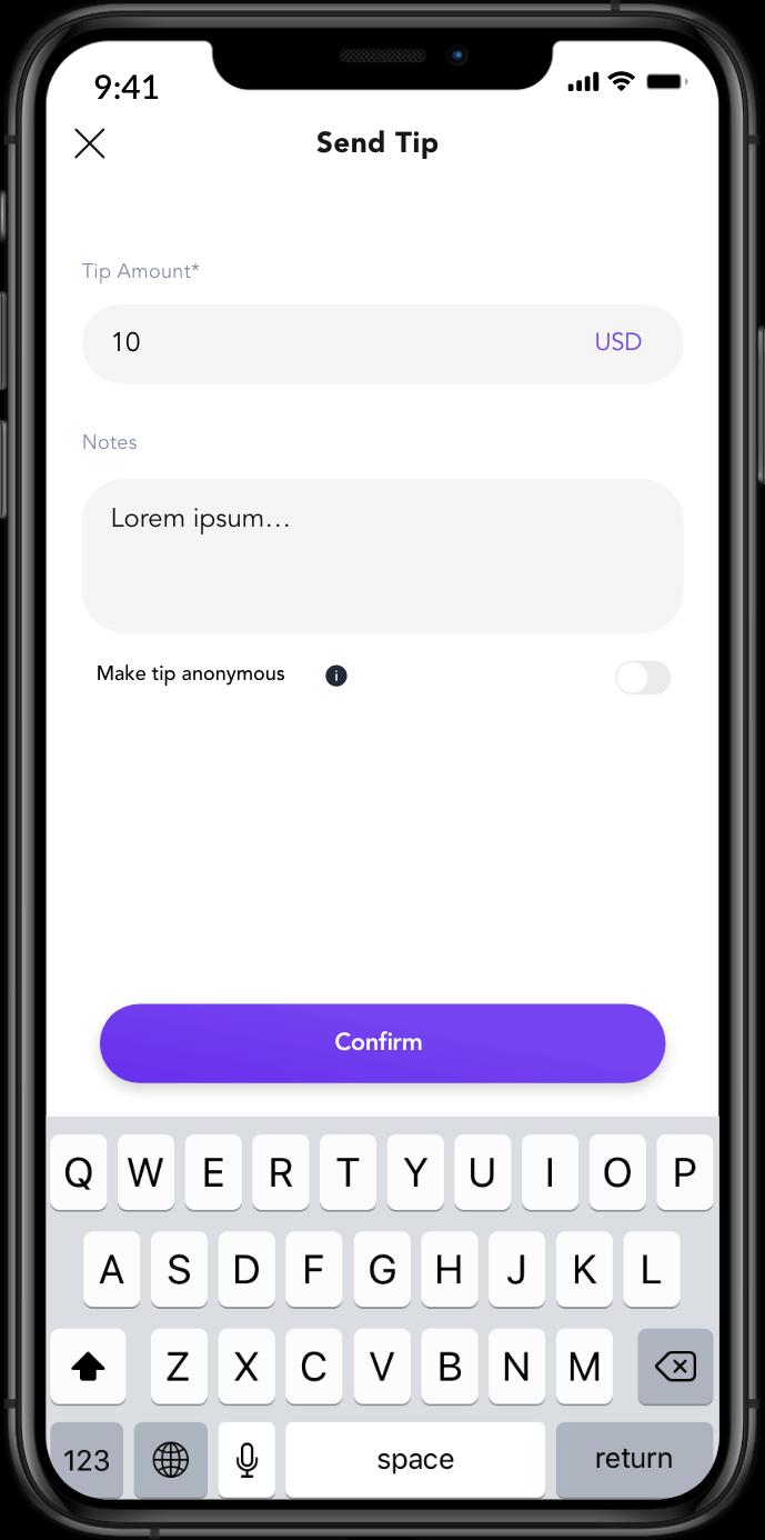 Send tips to creators