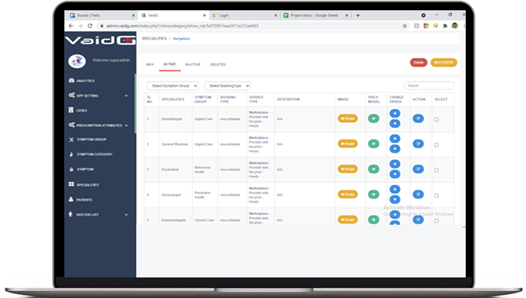 Admin panel accounting section doc app
