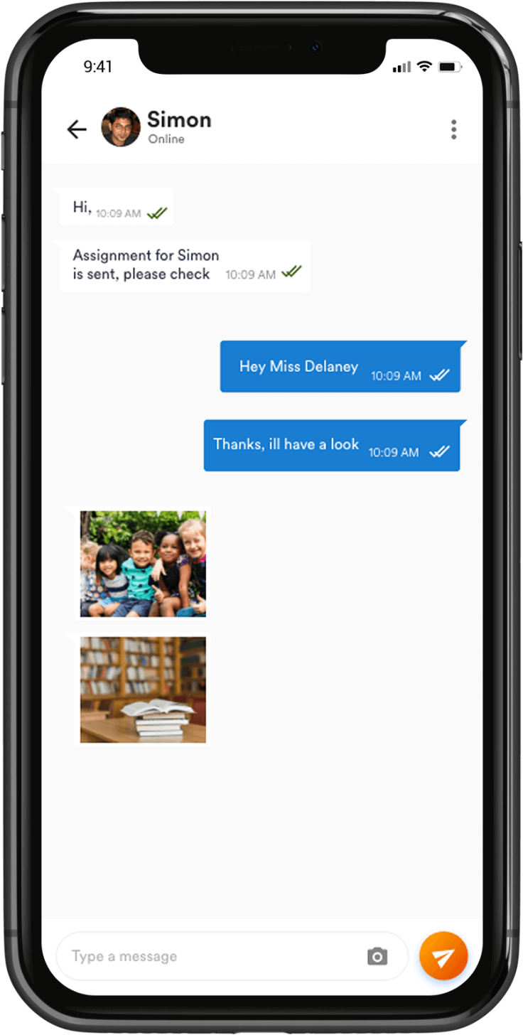 live real-time chat with parents