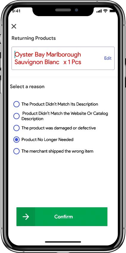 Alcohol delivery software reject items by customer