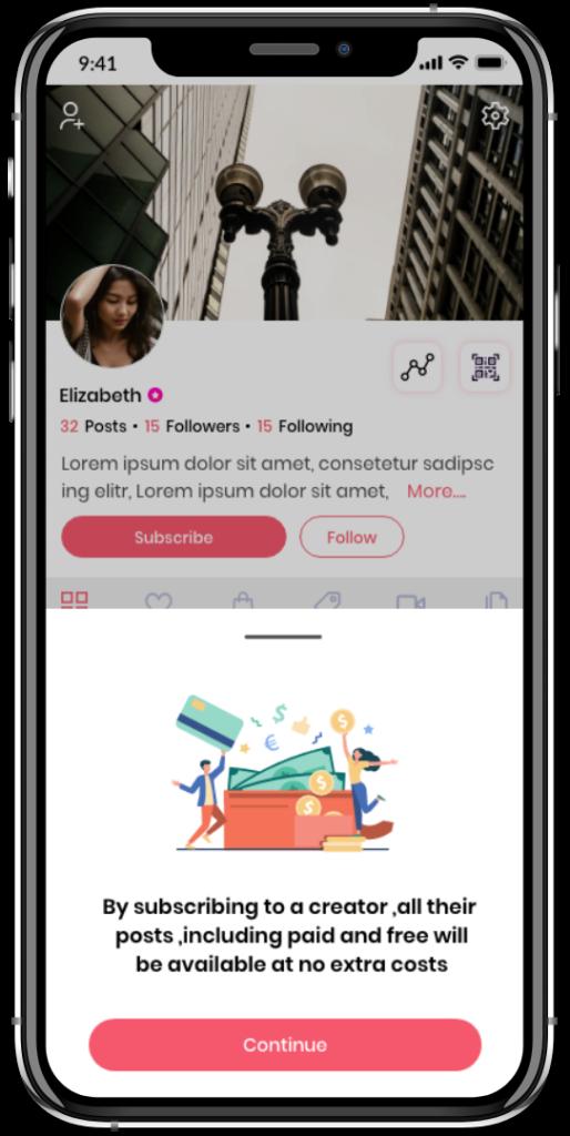 Instagram-clone-subscribe-a creator