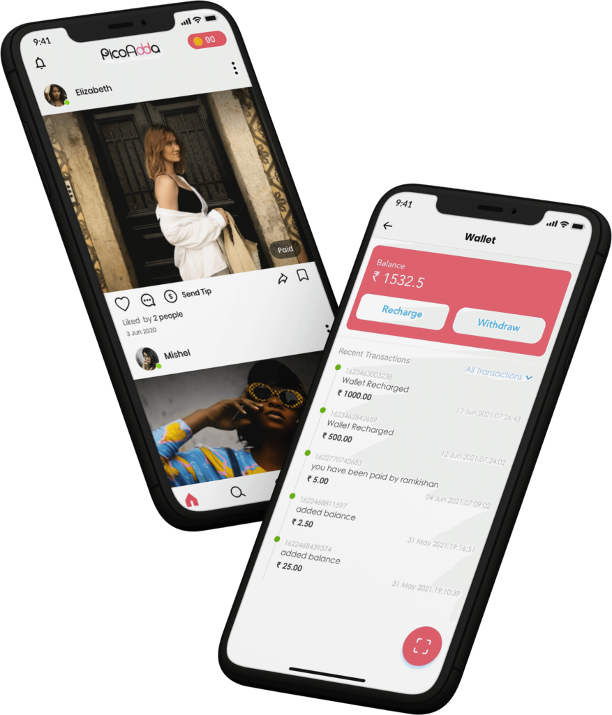 Instagram clone feed and wallet