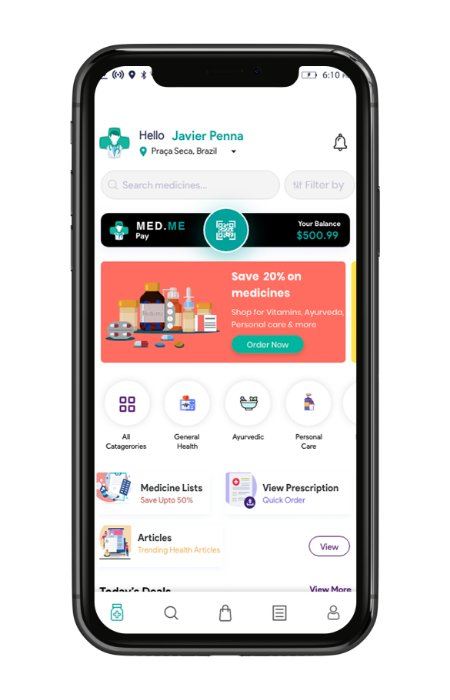 Pharmacy delivery home screen