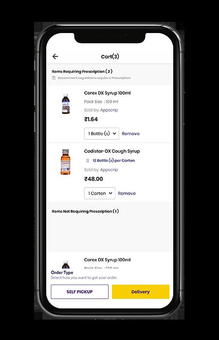 Medicine delivery app self pick up option