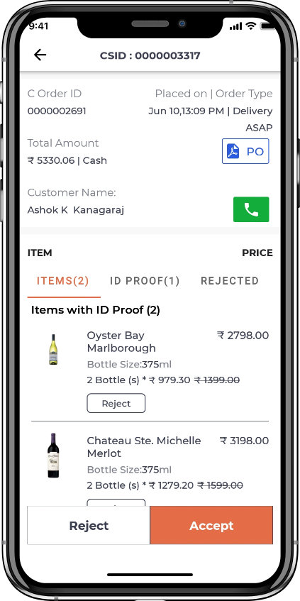 alcohol delivery software Cart details
