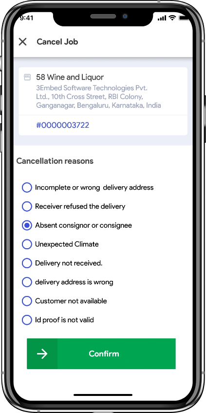 alcohol delivery software cancelling an order