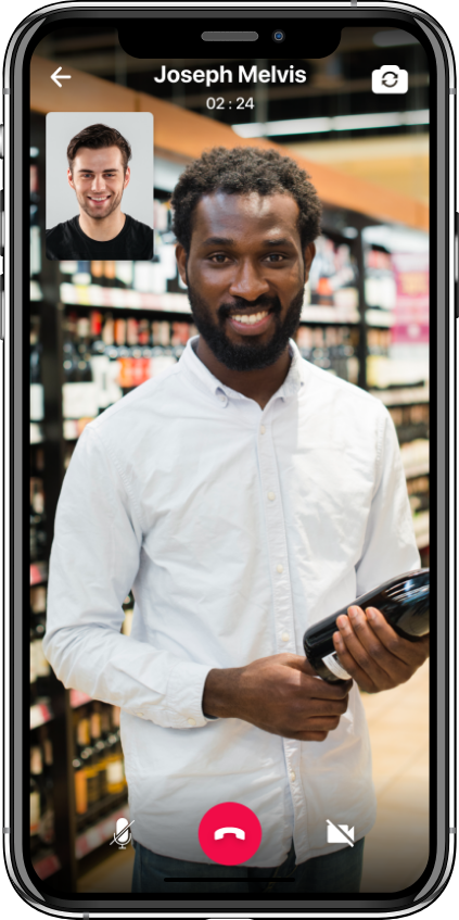 alcohol delivery software driver customer video call feature