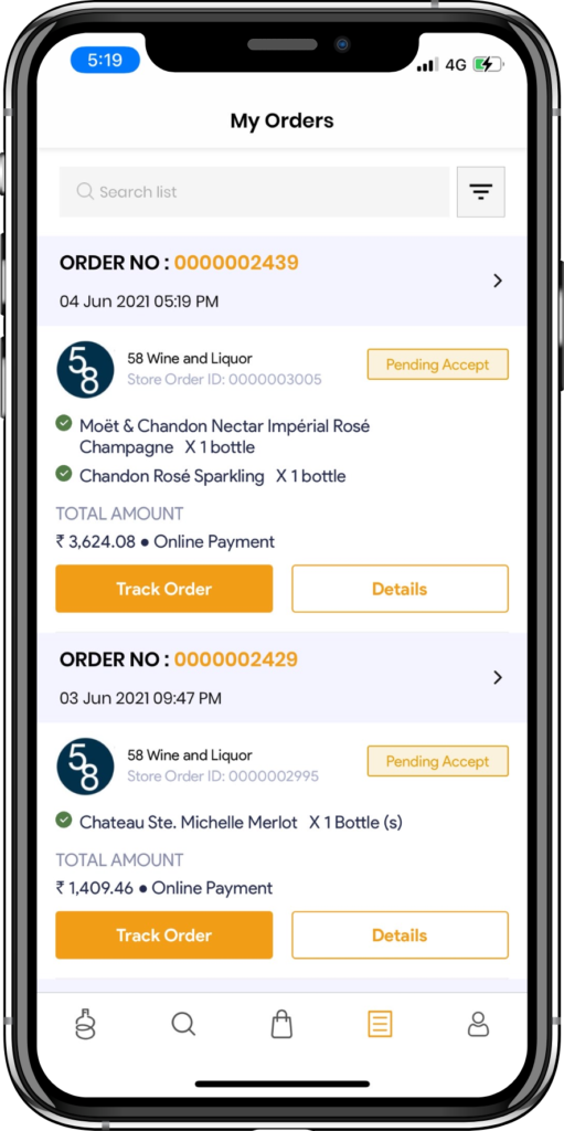 alcohol delivery software order history