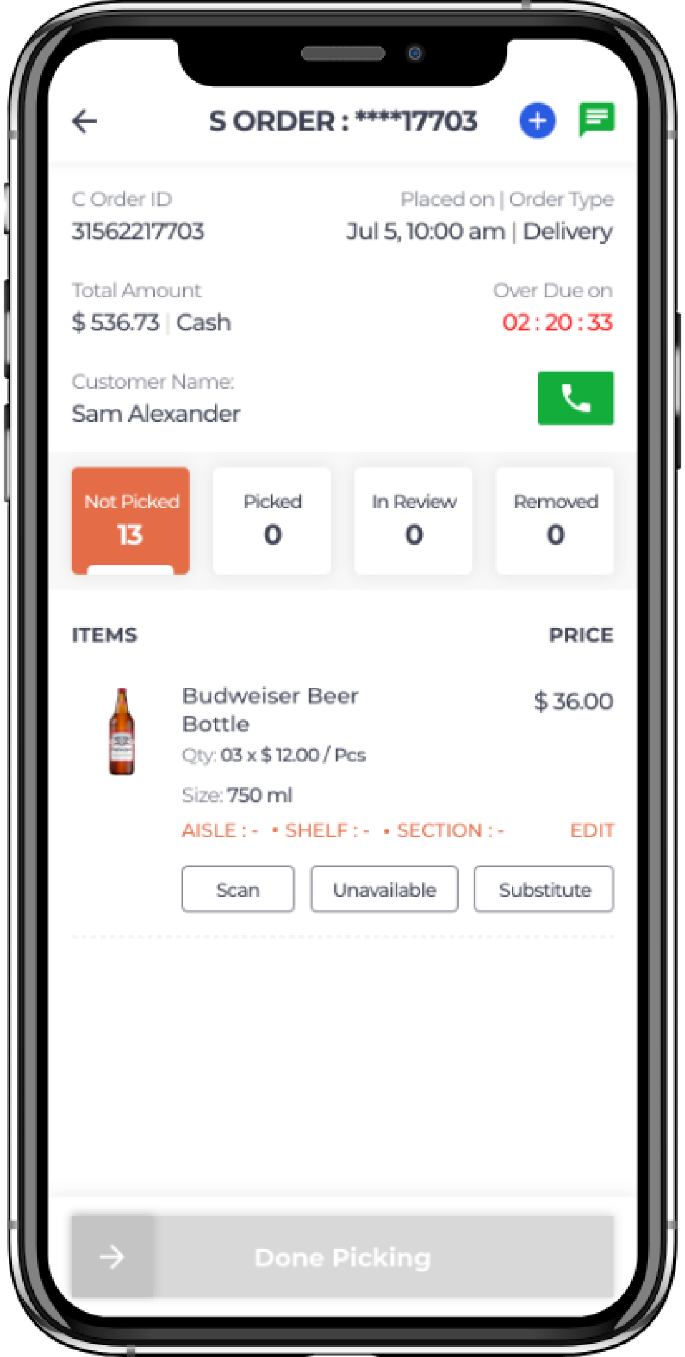 alcohol delivery software order picking stages of store app