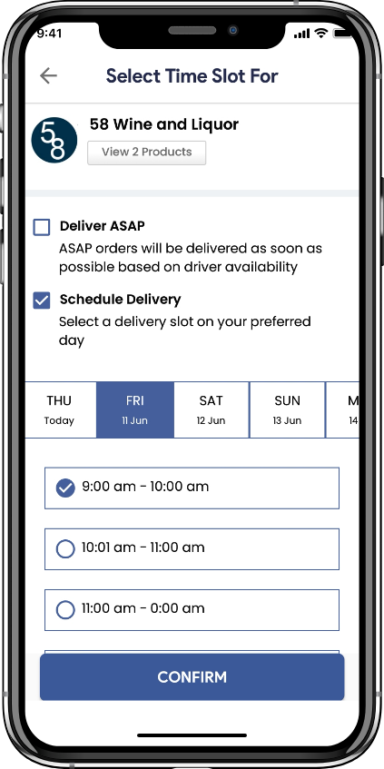 alcohol delivery software schedule liquor delivery