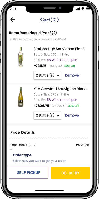 alcohol delivery software self pickup