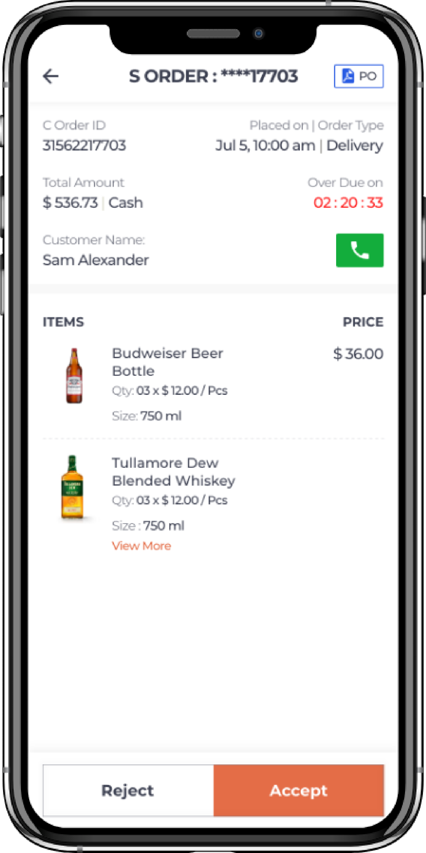 alcohol delivery software view all order details