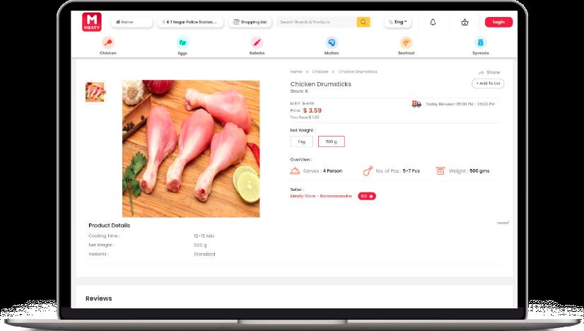 meat delivery app development customer website