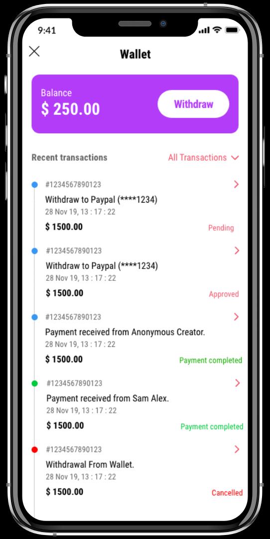 tiktok-clone-in app wallet