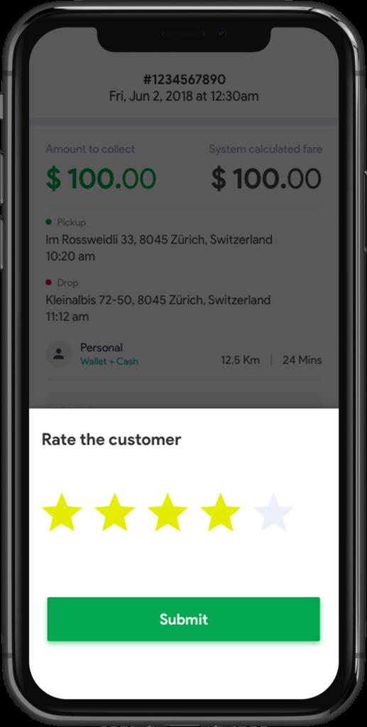 Customer Ratings Uber Clone Script