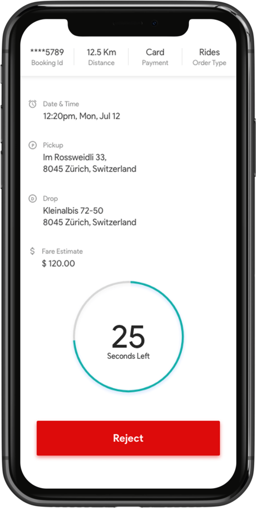 Live driver requests Transport Booking Software