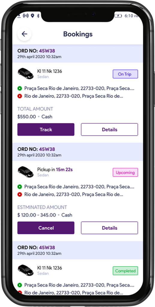 Your bookings option on Uber Clone