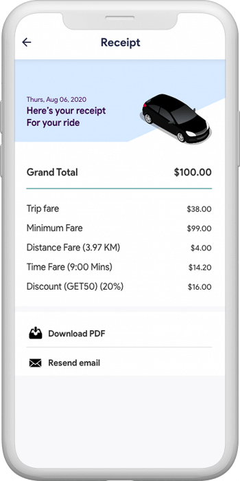 Ride details on the app